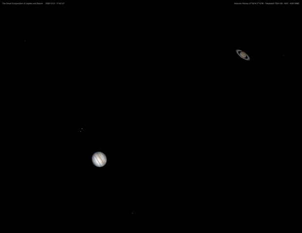 The Great Conjunction of Jupiter and Saturn  2020-12-21  17:42 UT,                                Antonio Vilchez