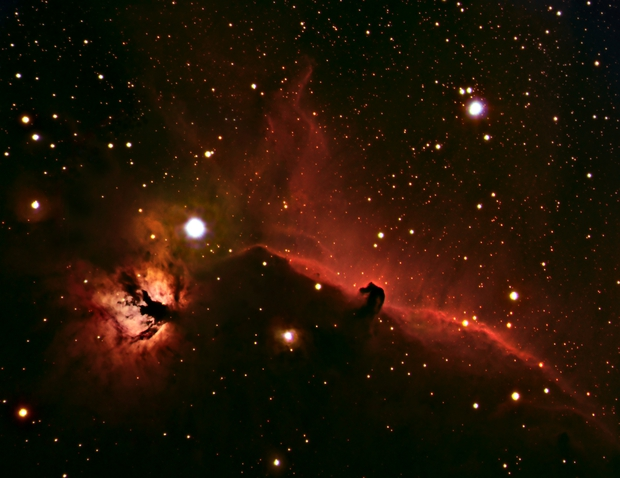 Horsehead and Flame Nebula in HaRGB,                                JKnight