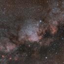 Mily way core (Aquila+Scutum+Sagittarius M16 & M17) experiment short exposures/Canon 6D + Canon 50mm f/1.4/no mount / 6400ISO,                                patrick cartou