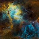 The Lion SH2-132 in Cepheus  - SHO and RGB,                                Arnaud Peel