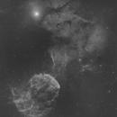 IC 443 / Sh2-248 / Jellyfish Nebula - IC 444 - 2-Panel Ha Mosaic,                                Falk Schiel