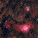 Lagoon - M8 and Trifid - M20 nebula widefield,                                Riedl Rudolf