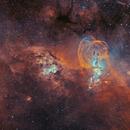 NGC 3576 & NGC 3603 - Statue of Liberty nebula (HOO version),                                Jean-Baptiste Auroux