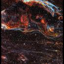Western Veil nebula / Cygnus loop - NGC6960 - Hubble palette - LRGB composition,                                David Lindemann