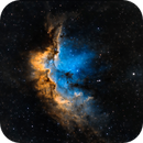 NGC7380 - The Wizard Nebula -  in Hubble Palette with Mixed Narrowband and RGB Filters.,                                Patrick Cosgrove