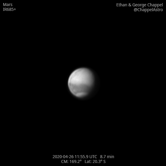 Mars on April 26, 2020 in Infrared,                                Chappel Astro