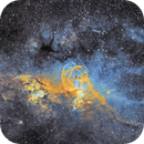NGC 3576 Statue of Liberty and NGC3572 cluster and nebulosity,                                robonrome