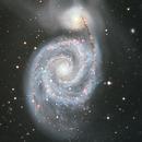 Galaxie spirale Messier 51 (surnommé WHIRLPOOL) dans la constellation des Chiens de Chasse.,                                Denis Bergeron