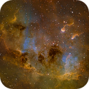 TadPoles Nebula (IC410) close up in Hubble Palette (SII/Hα/OIII),                                Jose Carballada
