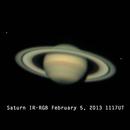 Saturn Tethys & Enceladus in IR-RGB,                                Tox_Man