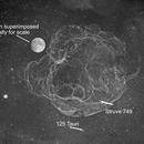Supernova Remnant Simeis 147 - Ha Monochrome - 3 Panel Mosaic (Moon added digitally for scale),                                Terry Danks