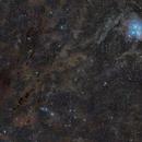 Pleiades and dark nebulosity in Taurus,                                bbright