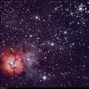 M20, Trifid Nebula, HO Bicolor, 4-13 May 2017,                                David Dearden