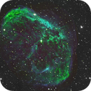 NGC 6888 Crescent Nebula - Hubble Palette and Custom SHO Blend - EdgeHD 9.25 - ASI1600MM,                                Rowland Archer