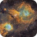 Gabriela Mistral Nebula plus Nebula around cluster NGC3293 - SHO narrowband image,                                robonrome