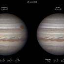 Jupiter with GRS (x2) - 28 June 2018,                                Geof Lewis