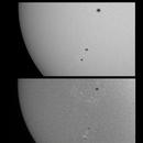 Sun in White Light & H-alpha - December 26, 2020 (w/ AR 2794 & 2795),                                JDJ