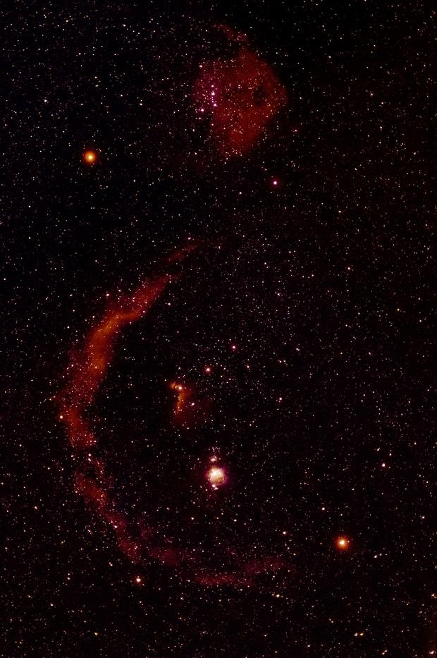 SH2 276 - Barnard's Loop and SH2 264 - Angelfish Nebula, in Orion,                                Doug Gray