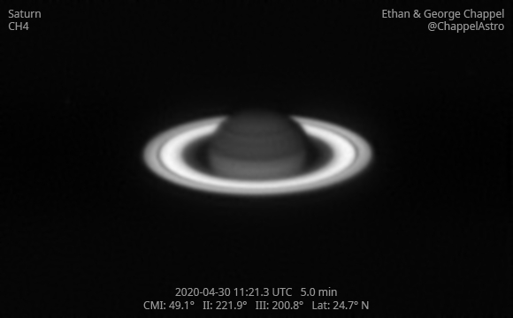 Saturn in Methane Band on April 30, 2020,                                Chappel Astro