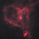 Heart Nebula - L-Extreme Filter test at 70% full moon,                                Hakan Midik