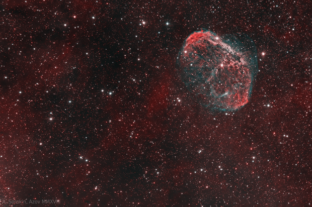 NGC 6888 Crescent Nebula and PN G75.5+1.7 Soap Bubble Nebula, bicolor,                                Alexander Sorokin