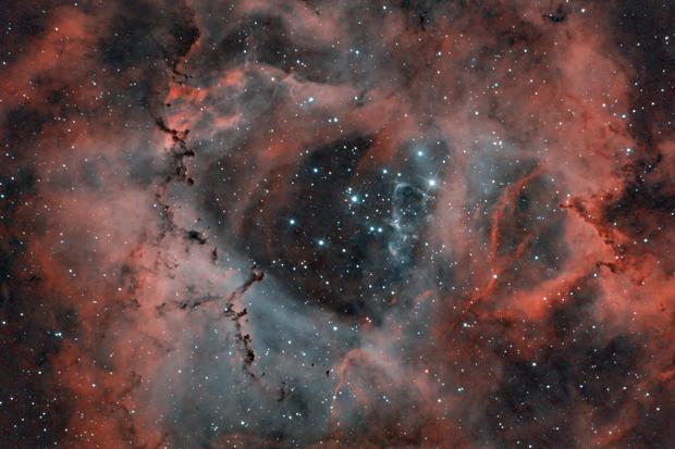 Rosette Nebula - Full Moon - Duo Narrowbandfilter test,                                kai.albrecht