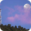 """Moon above Cell Tower """"La Vigie"""" - Lens 400 mm - June 1, 2018,                                Ray Caro"""