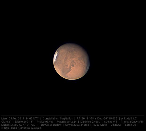 Mars 26 Aug 2018 - Sinus Meridiani - 3 min capture,                                Seb Lukas