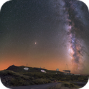 Mosaic of 18 panels of Observatory on Roque de los Muchachos, La Palma, Canaries,                                Maxime Tessier