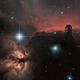 Horsehead nebula (IC434) & Flame Nebula (NGC 2024) Ha-RGB,                                Olivier Ravayrol