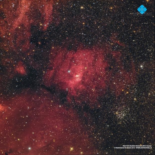 NGC7635 Bubble Nebula & M52 Cluster companion,                                Francesco di Biase