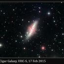 M82, Cigar Galaxy, UHC-S, 17 Feb 2015,                                David Dearden