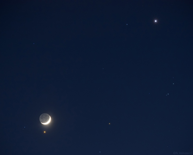 Moon, Aldebaran and Venus,                                Adriano Valvasori