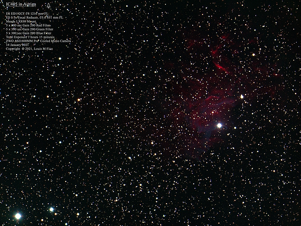 IC405 The Flaming Star Nebula in RBG only,                                MJF_Memorial_Observatory