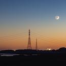 Moon and Mars in the dusk,                                Annette Sieggrön