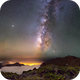Mosaic of 18 panels of sea of clouds and milkyway, La Palma, Canaries,                                Maxime Tessier