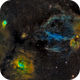 Sh2-157, NGC7635 & NGC 7538 -  The Lobster Claw, Bubble & Northern Lagoon Nebula with RGB stars,                                Greg Nelson