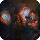 NGC7000 and SH2-119 side by side - LRGB composition - Hybrid narrowband palette,                                David Lindemann