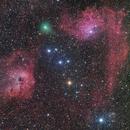 cometa C/2020 M3 Atlas tra le nebulosità della Auriga,                                Rolando Ligustri