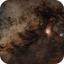 Lagoon and Trifid Awash in the Milky Way,                                Jonathan Nelson