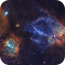 Lobster Claw Nebula and Bubble Nebula   Hubble Palette   NGC7635,                                Chris King
