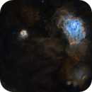 Trifid and Lagoon nebulae (SHO, starless),                                Thibault Sandre
