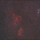 """IC-1805-Heart Nebula and 1848- Soul Nebula + NGC884-869 """"Double Cluster"""" h+chi,                                Paul Schuberth"""