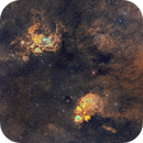 NGC6334 and NGC6357 (The Cat's Paw And Lobster Nebula) 2*2 Mosaic,                                johnnywang