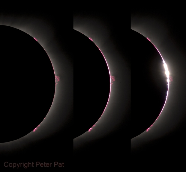 2017 USA Eclipse Montage showing progression from Prominences to Bailey's Beads,                                Peter Pat