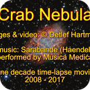 Crab Nebula (one decade time-lapse movie), video with music,                                DetlefHartmann