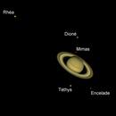 Saturn and its main moons,                                nzv