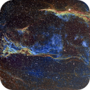 NGC 6960, The Lace-work/Veil Nebula and Pickering's Triangle, Hubble Palette with RGB Added,                                Eric Coles (coles44)