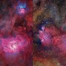 Lagoon and Trifid stars and starless,                                John Gleason