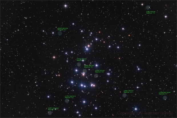 The Beehive Cluster and 9 Asteroids,                                sky-watcher (johny)